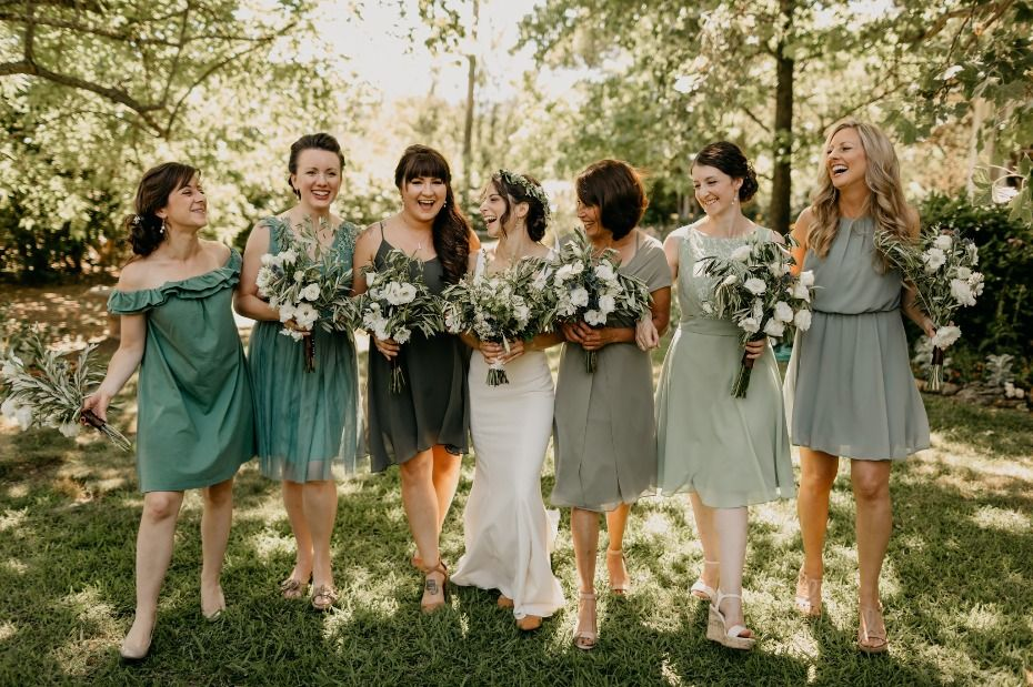 A Romantic Family Vineyard Wedding In The Heart Of Napa Valley Green Bridesmaid Dresses Green Bridesmaid Dresses Short Sage Bridesmaid Dresses Mismatched