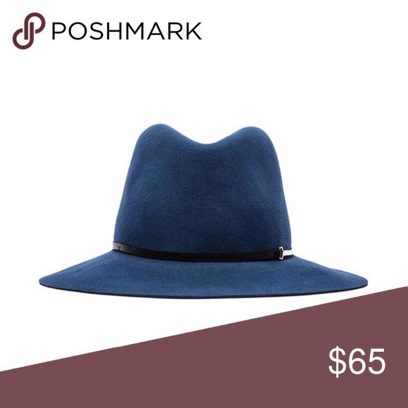 Janessa Leone Sara Hat In Smoke Blue Hat Fashion Leather Band Large Hats