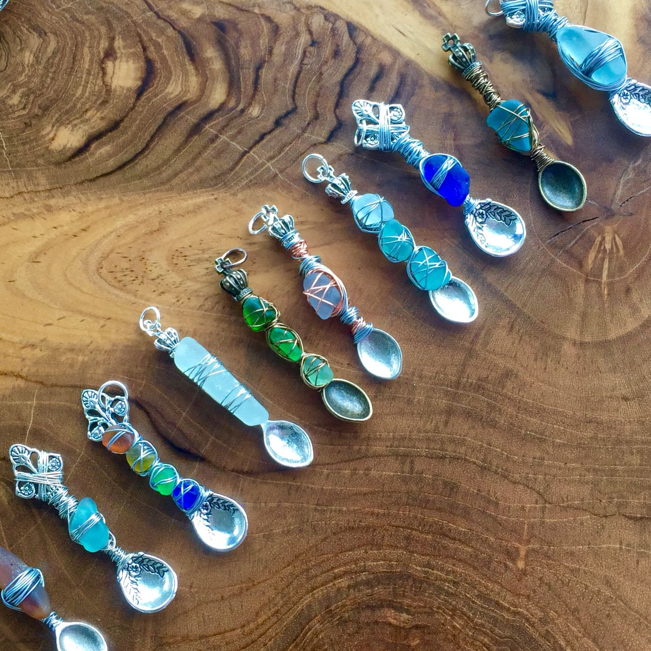 Pin on Spoon necklaces with sea glass from Mermaid Sea Gems