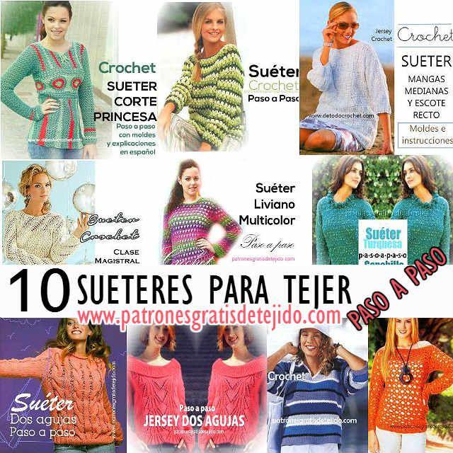 10 patrones de puloveres para tejer para mujer con instrucciones ...