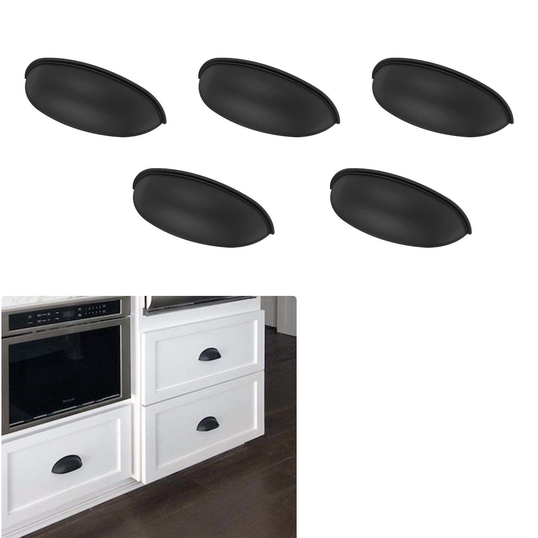 5 Pack Matte Flat Black Cabinet Hardware Modern Farmhouse Kitchen