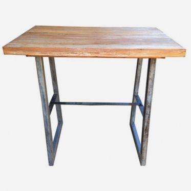 Table haute rectangulaire avec plateau en bois patiné et structure ...