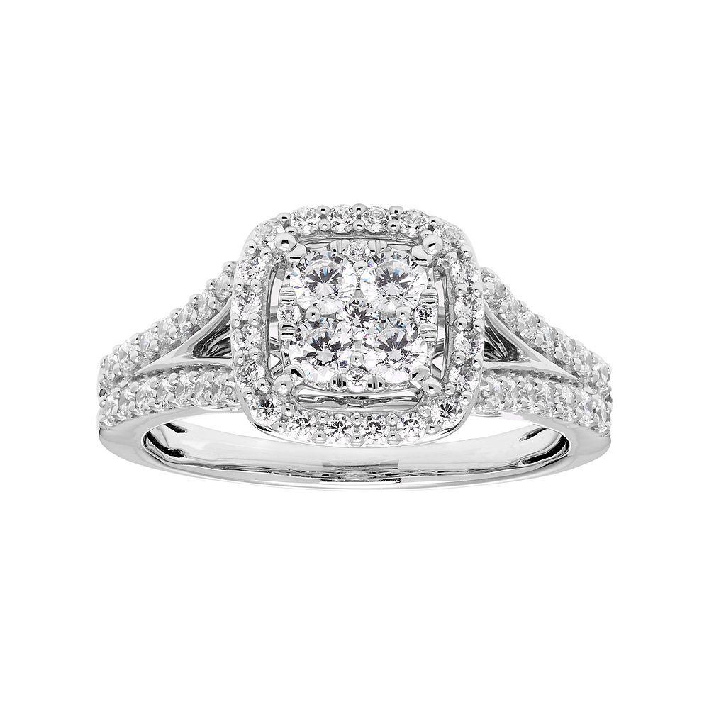 d0b34d825 Lovemark 10k White Gold 3/4 Carat T.W. Diamond Cluster Square Halo Ring,  Women's, Size: 7