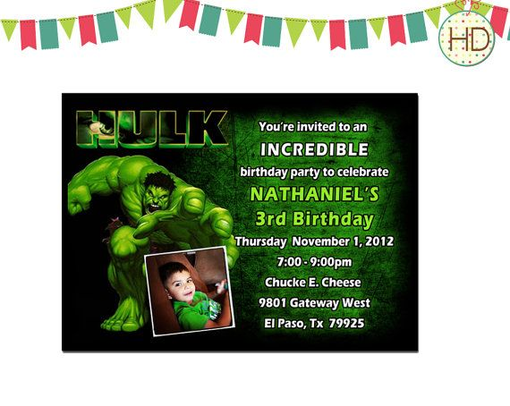 Hulk Invitation Birthday Party Invite Printable On Etsy 1600