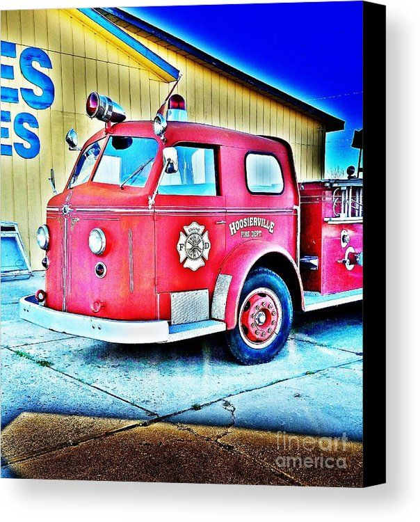 Mid Century Hoosierville Fire Dept Engine - Digitally Painted Art Work from the art studio of Scott D Van Osdol available at fineartsamerica.com