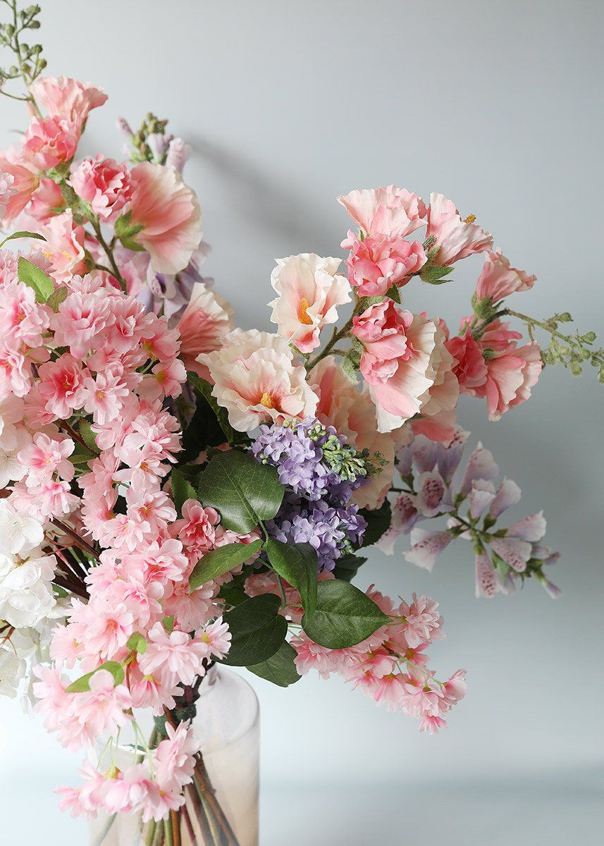 Pink Faux Cherry Blossom Flower Branch 40 Fake Flowers Decor Cherry Blossom Flowers Fake Flowers