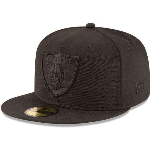 Oakland Raiders New Era Black on Black 59FIFTY Fitted Hat - NFL ... 6588e7edf