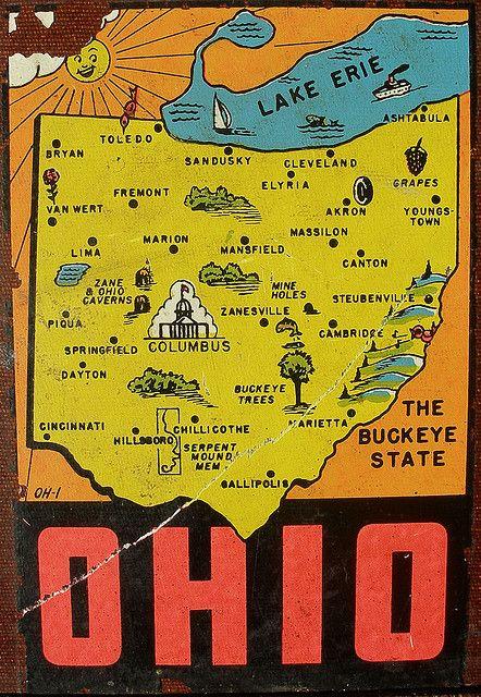 Ohio Decal Map Love Pinterest Viagens And Cartaz