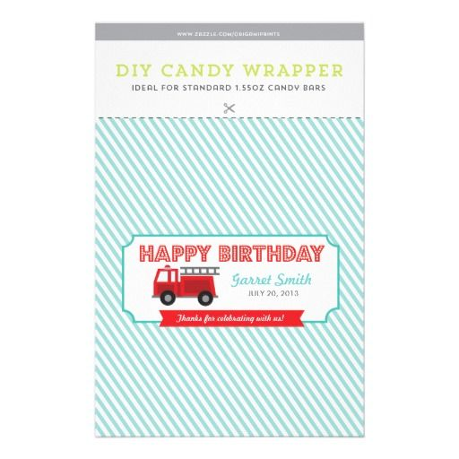 Kidu0027s FIre Truck Themed Birthday Party DIY Hersheyu0027s Candy Bar - candy bar wrapper template
