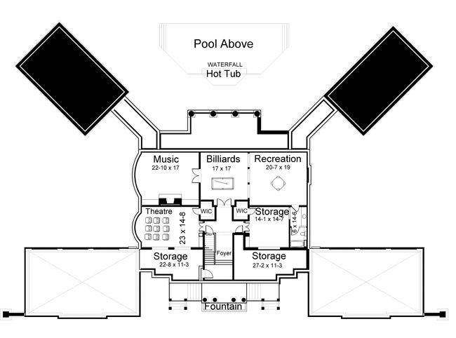 Basement Floor Plan image of Newport Hall House Plan Dream Home
