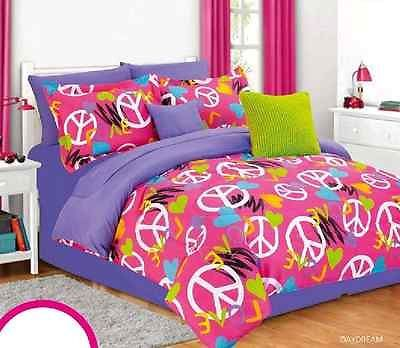 Bedrooms · Girls Twin Bedding Set Daydream Love Pink Purple Peace Signs Bed  Bag Teen