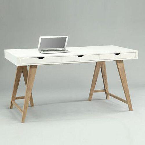 Schreibtisch weiß mit schubladen  ARIZONA Schreibtisch mit 3 Schubladen, weiß-Buche, Breite 150cm ...