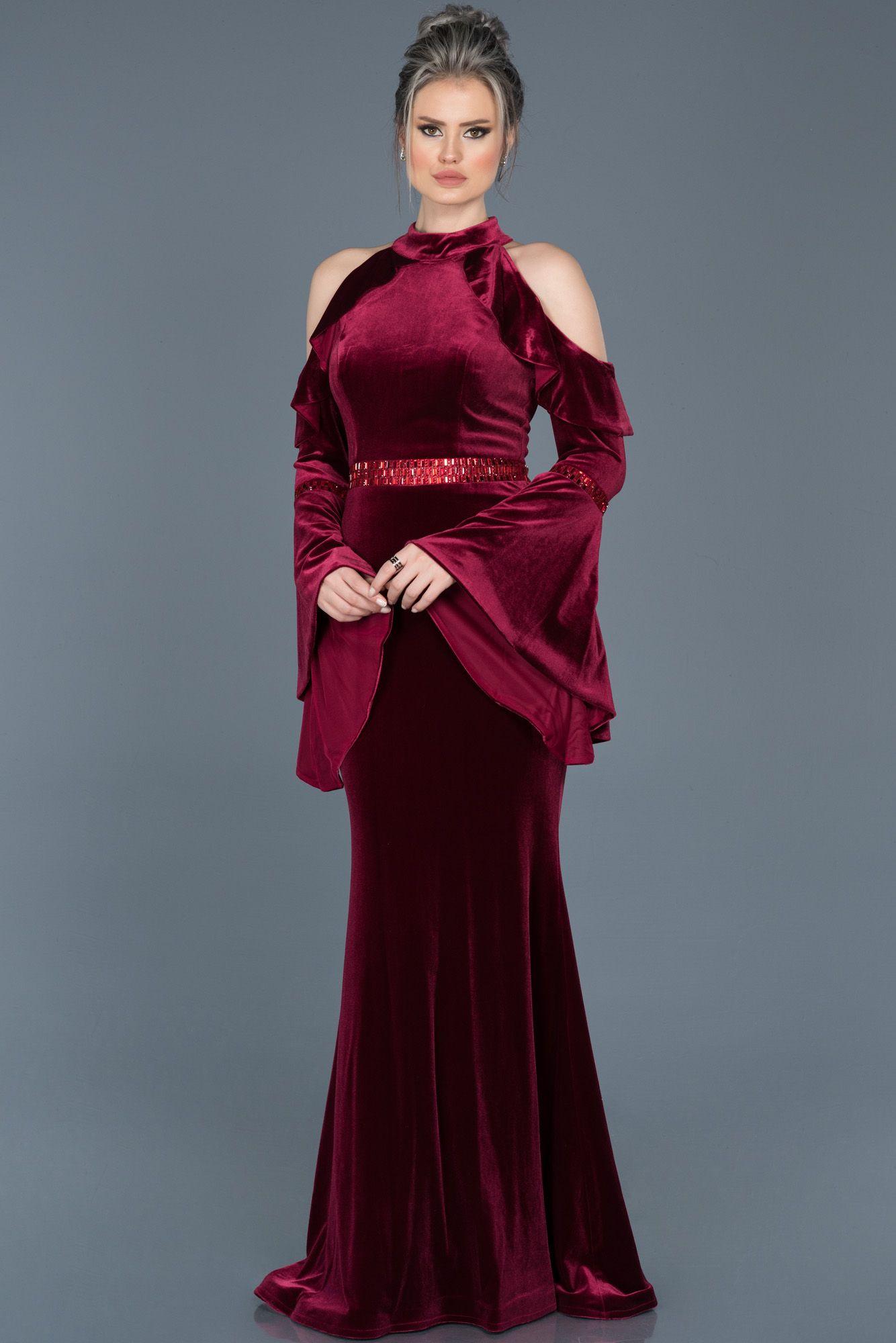 Bordo Omuz Dekolteli Kadife Balik Abiye Abu488 Uzun Elbise The Dress Elbise