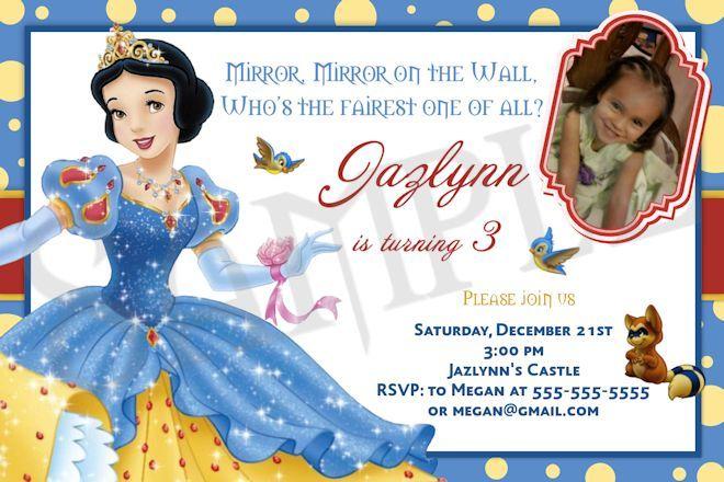 Snow White Birthday Invitation Party Ideas Pinterest Snow