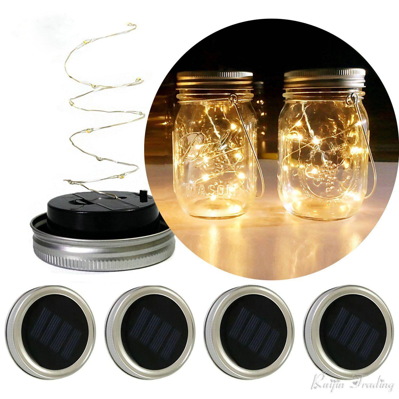 LED DIY Lichterkette Solar Batterie Betrieben Einmachglas Deckel ...