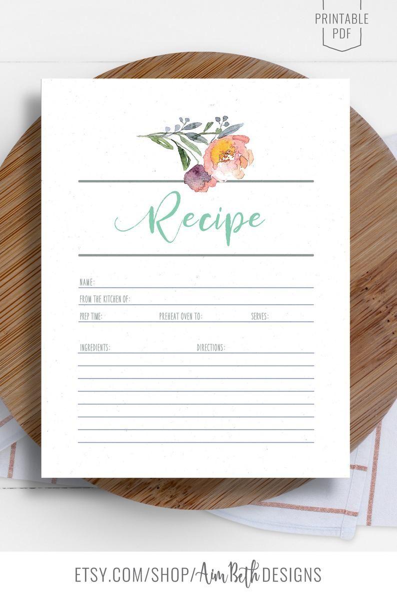 Printable Recipe Page Recipe Binder Kit Blank Recipe Sheet Etsy In 2020 Recipe Binder Kit Printable Recipe Page Recipe Binder
