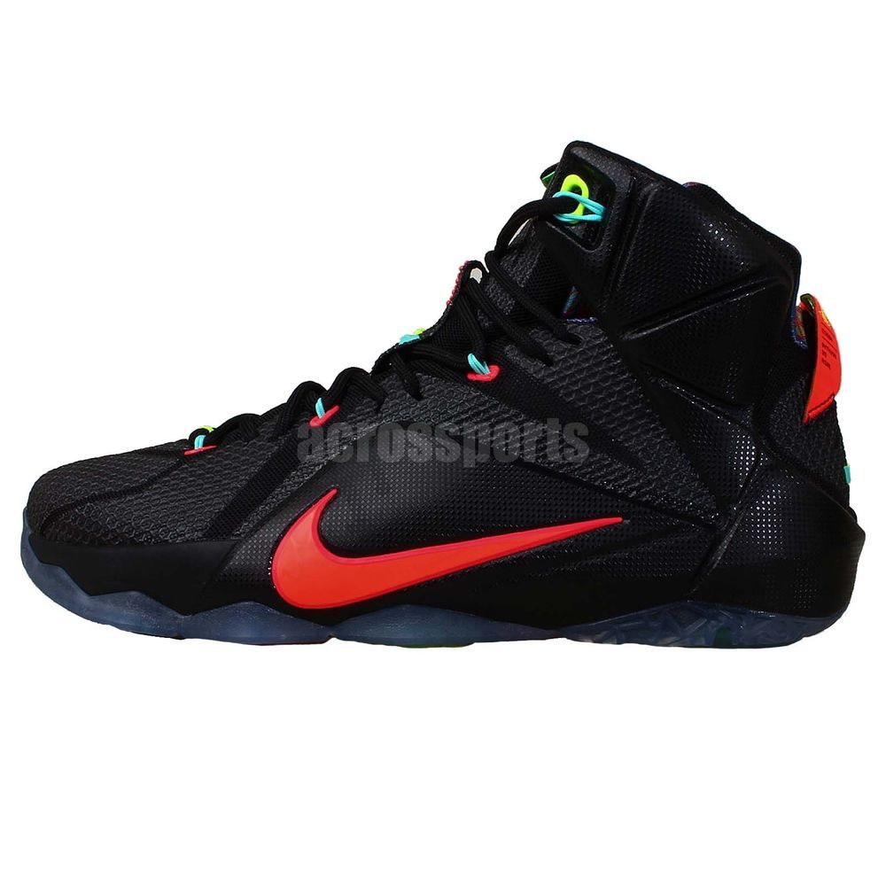 low priced d5b77 d71b6 Nike Lebron XII 12 EP Data James Black Punch Mens Basketball Shoes Sneakers  http