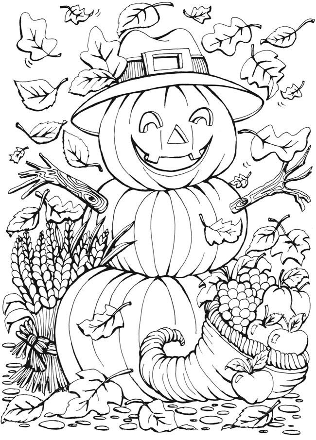 fall halloween coloring pages free | Halloween Jack-o-lantern Coloring Page | Fall coloring ...
