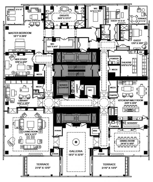 Four Seasons Penthouse Floor Plans 50 Yorkville Ave Toronto Condos 9038 Square Feet 3 Bedrooms West Tower Vi Hotel Floor Plan Apartment Floor Plans Floor Plans