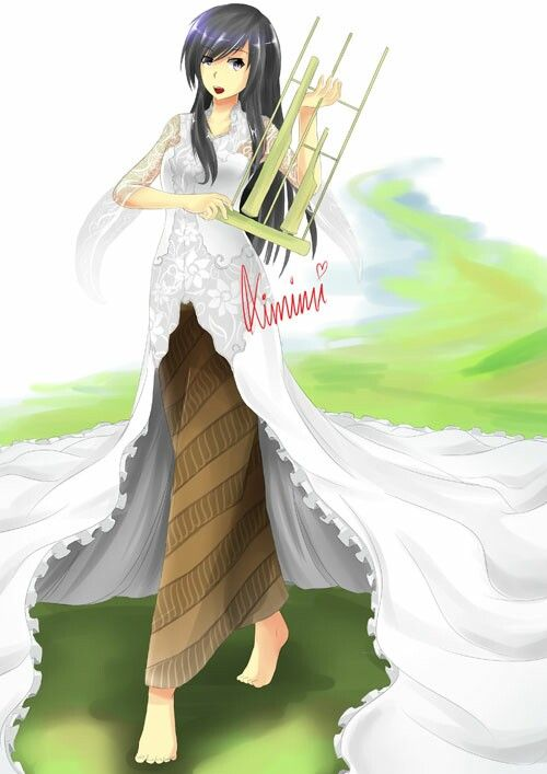 Traditional Outfit Wnite Kabaya Kebaya Batik Black Long Hair Bring Angklung Beautiful Jawa Java Ilustrasi Putri Gadis Animasi Tutorial Gambar Anime
