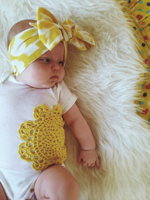 Bow Baby Head Wrap Short Length Head Band Ikat Head Wrap