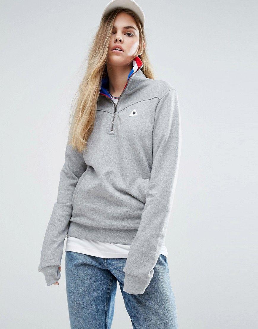 df192db618 Le Coq Sportif Boyfriend Tricolores Half Zip Sweatshirt - Gray ...