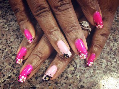Pale Pink/Dark Pink Black And White Flowers