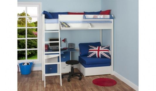MiZone Bedstead 90cm High Sleeper HB Desk Blue – High Sleeper Bed with Desk and Sofa Bed
