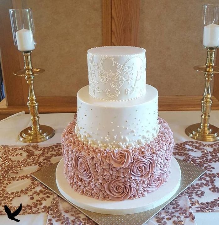 Dusty Rose Rosette Wedding Cake. Lace on top tier to match wedding dress. Dusty Rose Rosette Wedding Cake. Lace on top tier to match wedding dress.