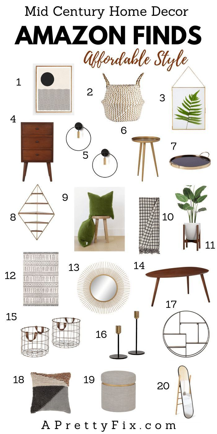Get a Pinterest-worthy look with these affordable mid-century modern home decor finds on Amazon. From throws to candle holders to wall decor and more, add some modern vintage charm to your living room, bedroom, or entryway. Click through for the source list. #homedecor #amazon #homedecorlivingroom #homedecorbedroom #homedecorentryway #homedecoraccessories #midcenturymodern