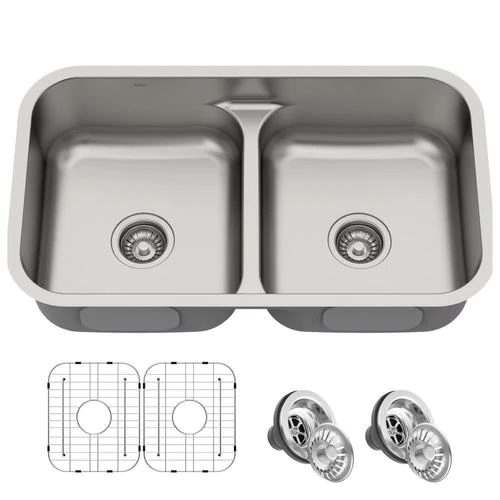 Kraus Premier 32 In X 19 In Stainless Steel Double Equal Bowl Undermount Commercial Residential Kitchen Sink Lowes Com In 2020 Sink Kitchen Sink Single Bowl Kitchen Sink