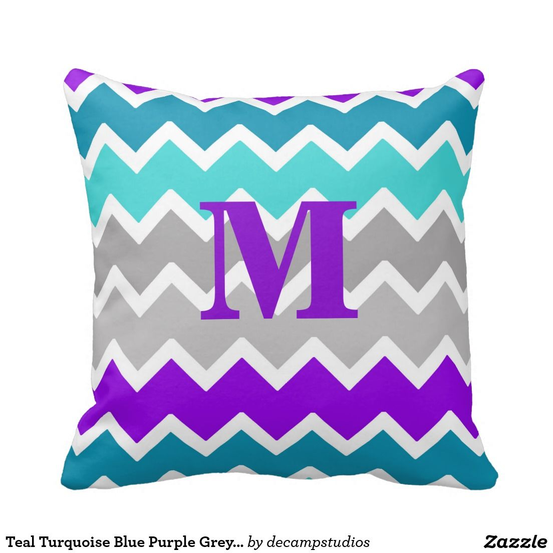 Teal Turquoise Blue Purple Grey Gray Chevron Throw Pillow ...