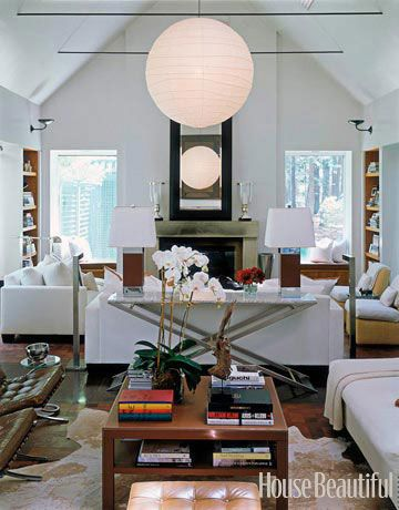 A little hard edged, but overall beautifully layered. Question: How/where exactly do the lamps plug in when they're in the middle of the room? Great mysteries of decorating...