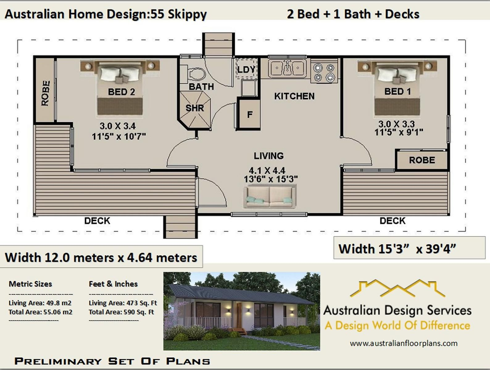 55 M2 Or 592 Sq Foot 2 Bedroom Small Home Design Etsy Small House Design Free House Plans House Plans For Sale