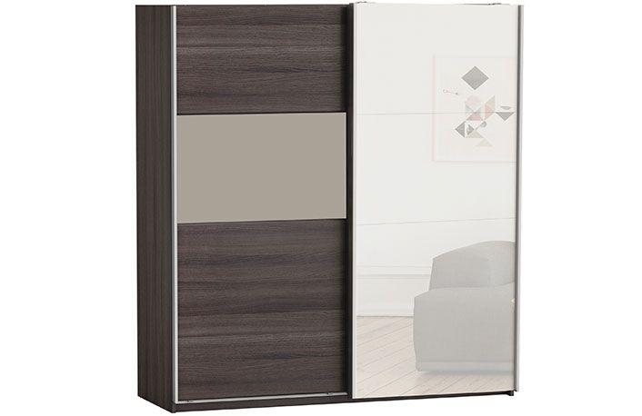 Armario 2 puertas correderas bicolor con espejo puertas for Armarios de puertas correderas baratos