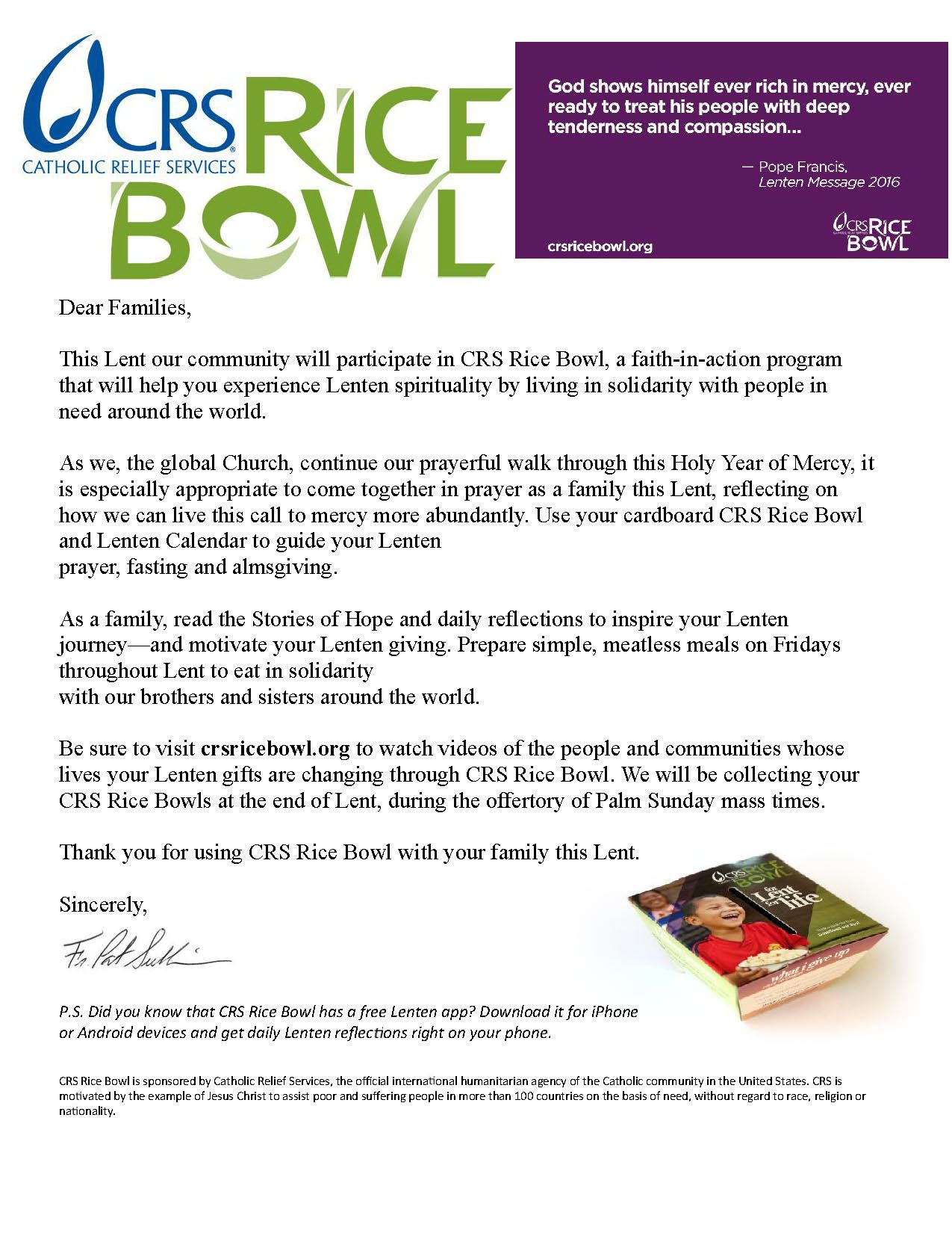 A Letter From Fr Pat About The Crs Rice Bowl Program Http Www Crsricebowl Org Catholic Relief Services Catholic Lettering