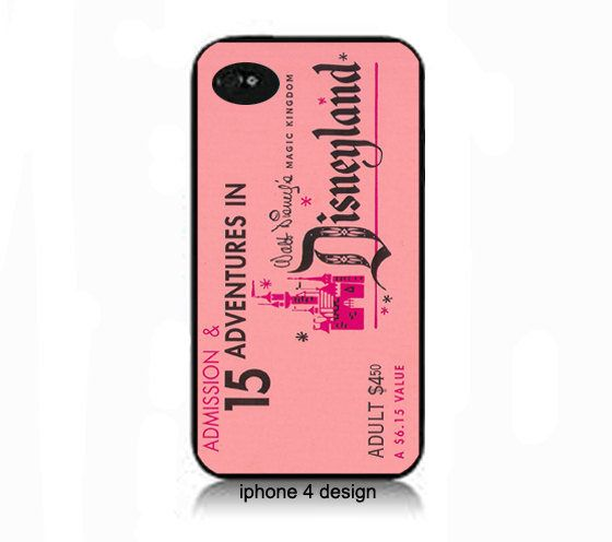 Vintage Disney ticket- pink- Iphone 4 cell phone accessory case, Iphone cover