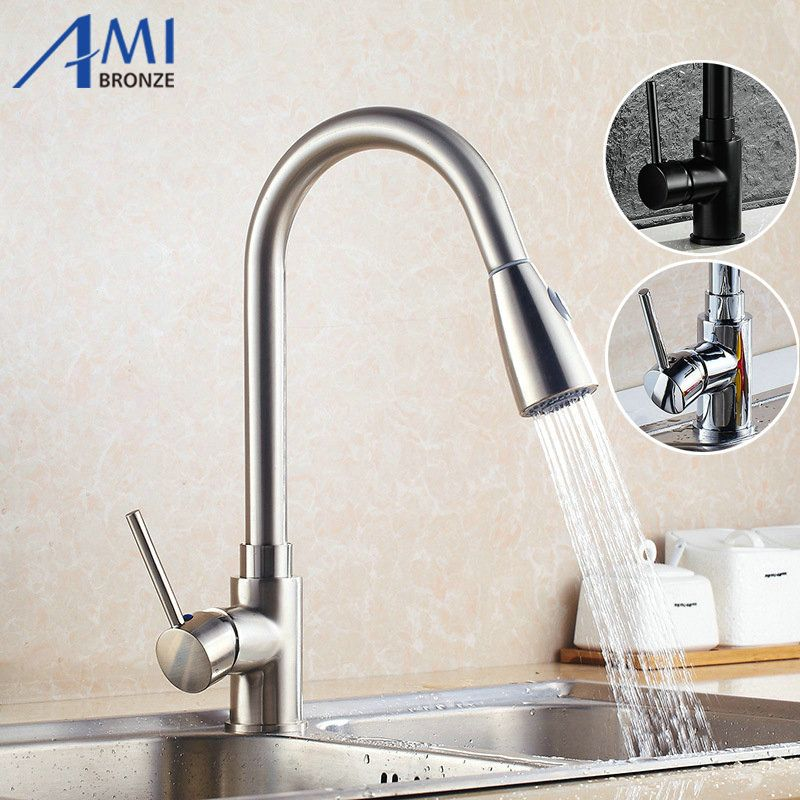 Reviews Pull Out faucets Kitchen faucet Nickel Brushed bathroom ...