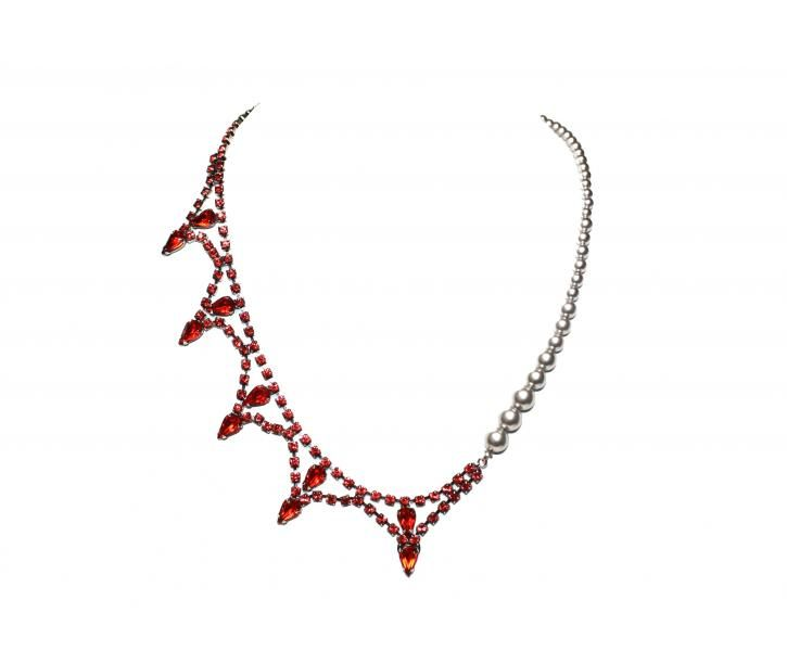 ZIG ZAG RED CRYSTAL NECKLACE WITH PEARLS