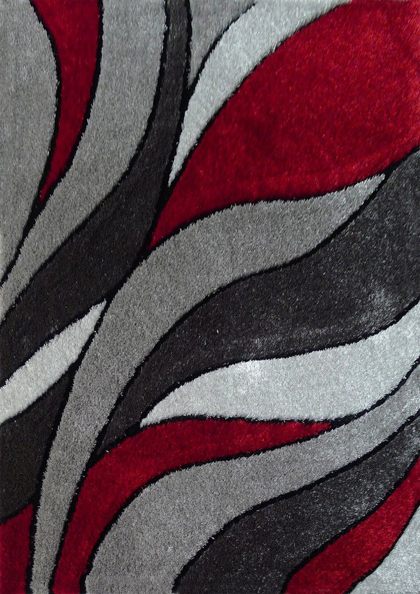 Lo La 16 Red Gray Modern Hand Tufted Shag Area Rug 100 Polyester