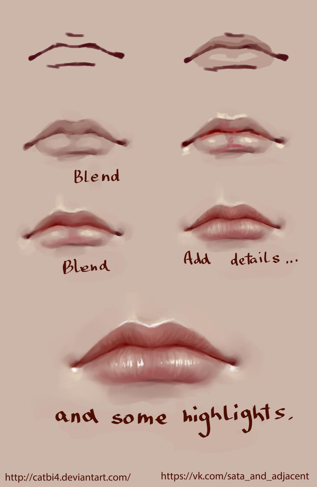 Lips step by step by SataZakuro.deviantart.com on @DeviantArt