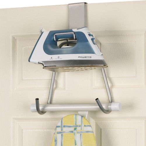 An Over The Door Ironing Organizer To Hold The Iron And Board Household Essentials Ironing Board Holder 174 With Images Ironing Board Holder Iron Holder Ironing Board