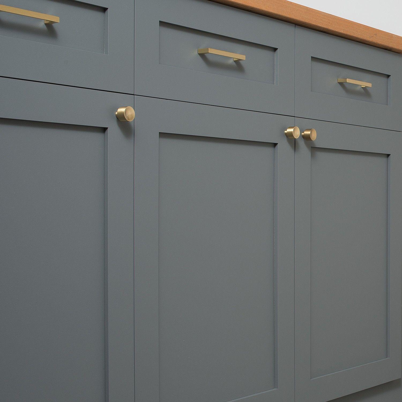 Black Kitchen Cabinets Brass Hardware: Mid Century Knob - Natural Brass