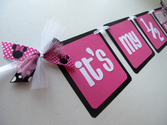 Half Birthday Banner Minnie Mouse Inspired ITS MY 1 2 BIRTHDAY By BananaLala On Etsy