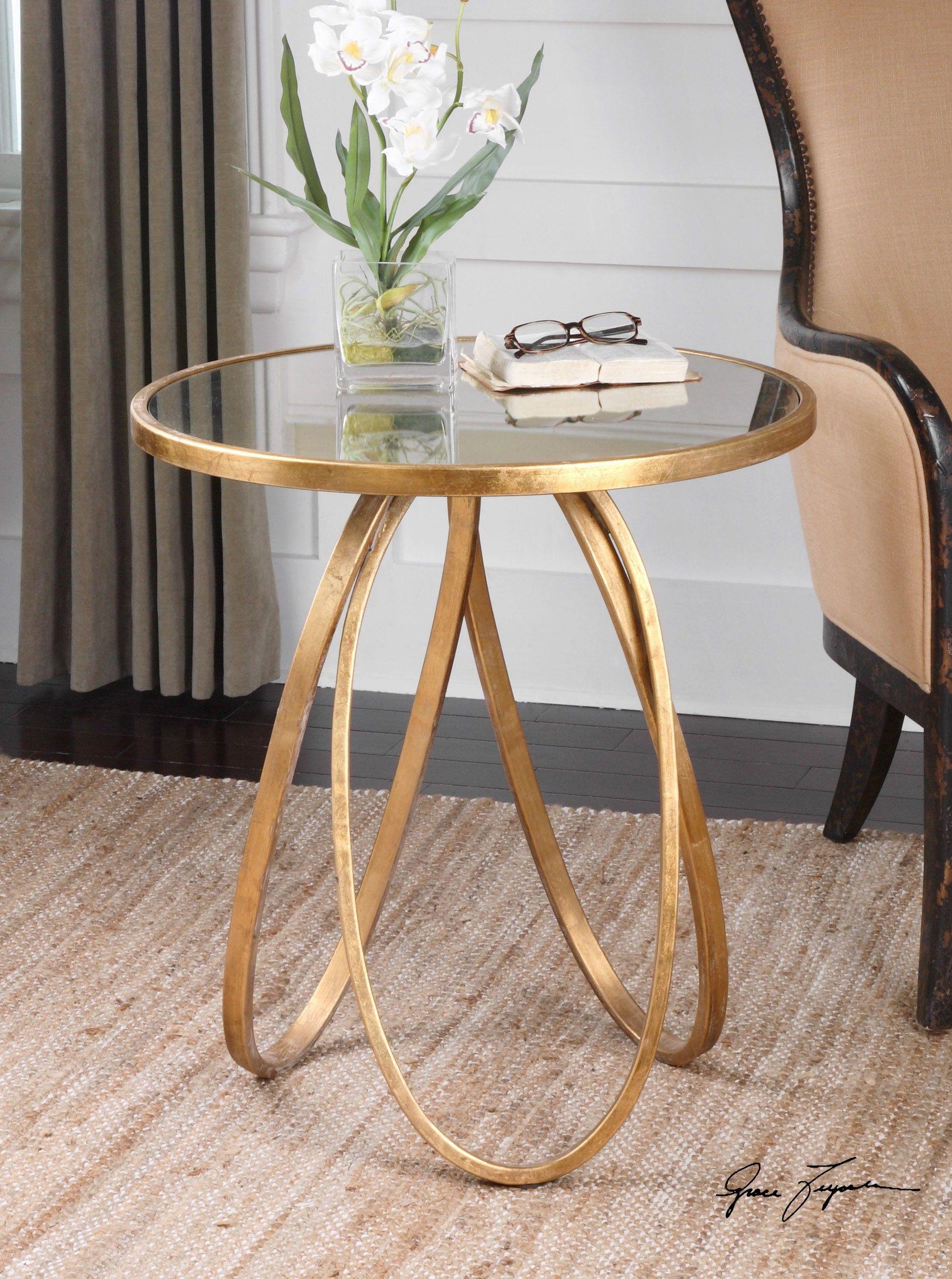 Glamour für jedes Wohnzimmer Beistelltisch mit Blattgoldbeschichtung