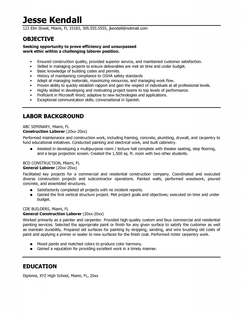 Construction Resume Template Sample Skills Put Cover Letter Worker General  Contractor  General Skills To Put On Resume