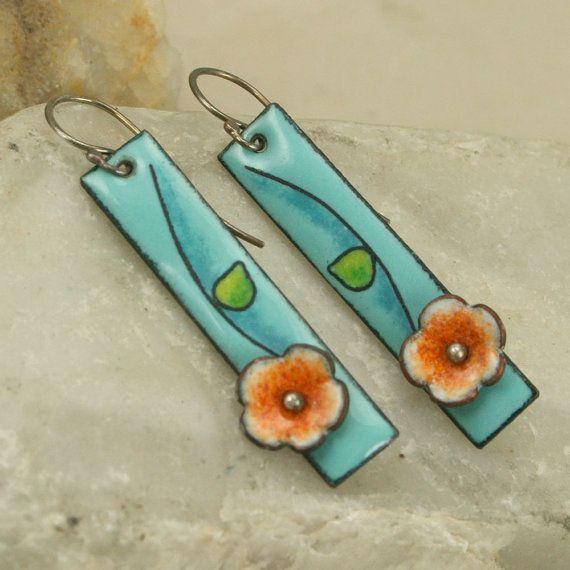 Handmade Flower Copper Enamel Earrings Sky Blue Floral Etsy Enamel Jewelry Enamel Earrings Ceramic Jewelry
