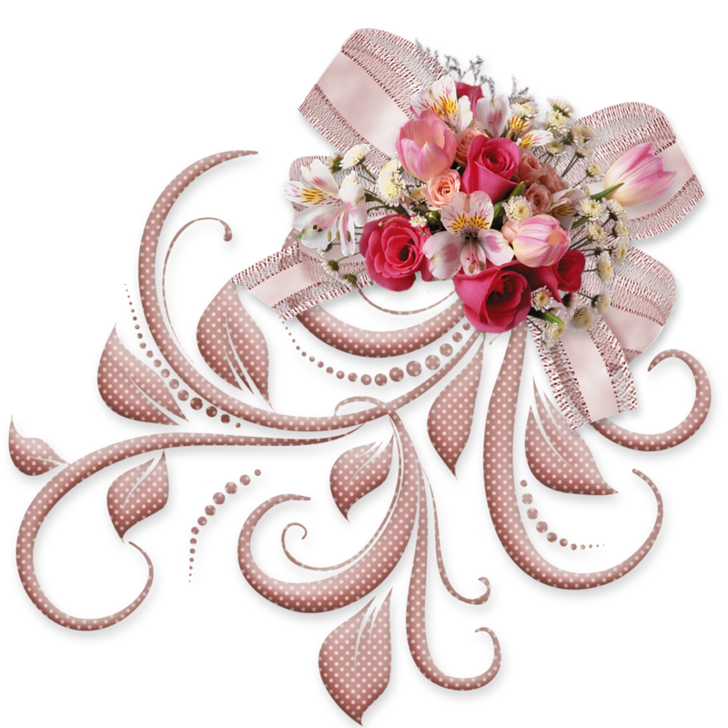 Fleurs page 296 scrap digital pinterest scrap flower spray pink bow with roses png decorative element mightylinksfo