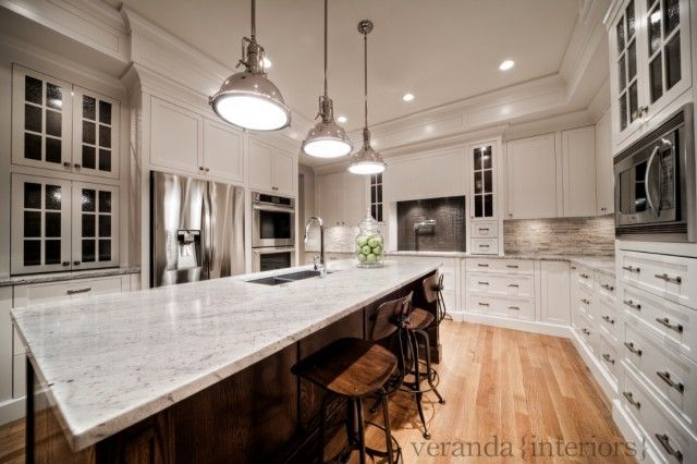 Gorgeous Two Tone Kitchen Design With Creamy White Kitchen Cabinets Painted  Benjamin Moore White Dove