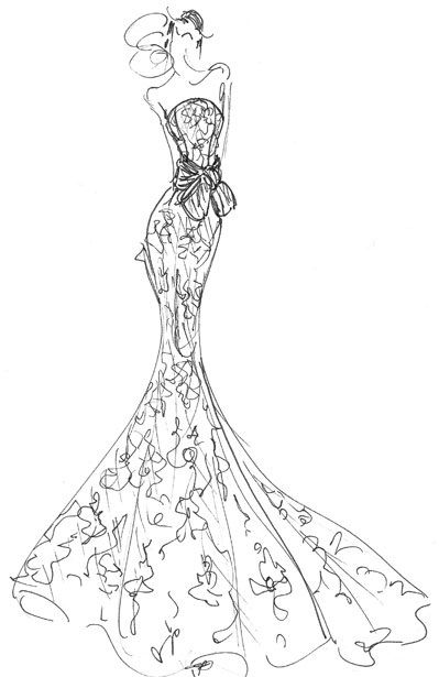 Fashion designer party dress drawing
